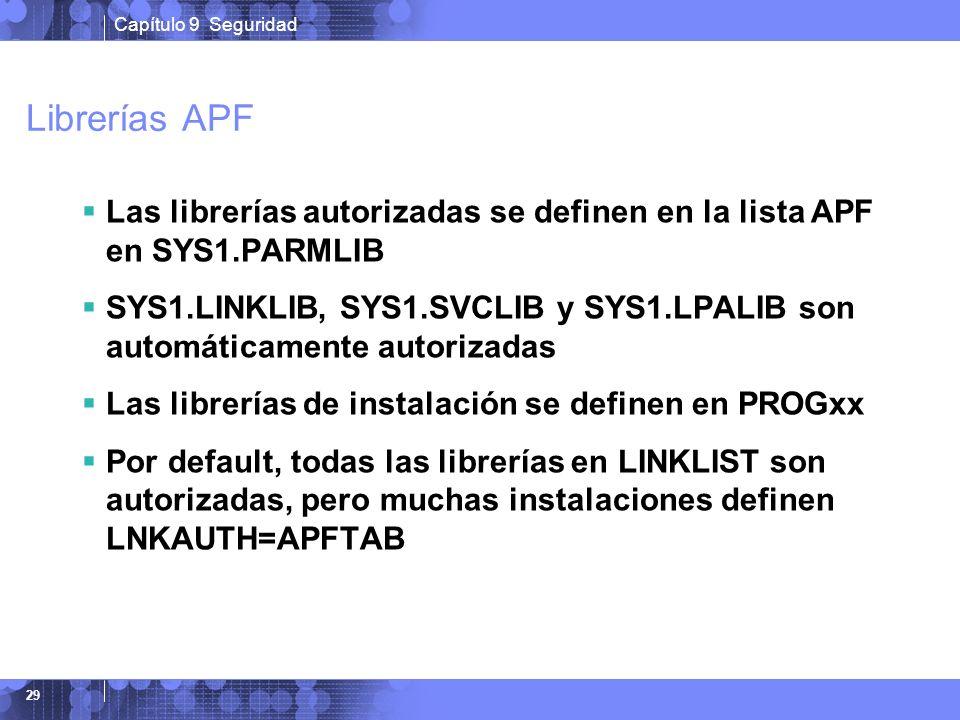 Capítulo 9 Seguridad 29 Librerías APF Las librerías autorizadas se definen en la lista APF en SYS1.PARMLIB SYS1.LINKLIB, SYS1.SVCLIB y SYS1.LPALIB son