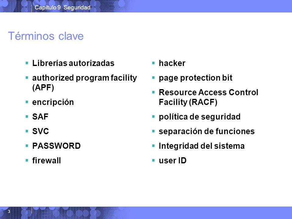Capítulo 9 Seguridad 3 Términos clave Librerías autorizadas authorized program facility (APF) encripción SAF SVC PASSWORD firewall hacker page protect