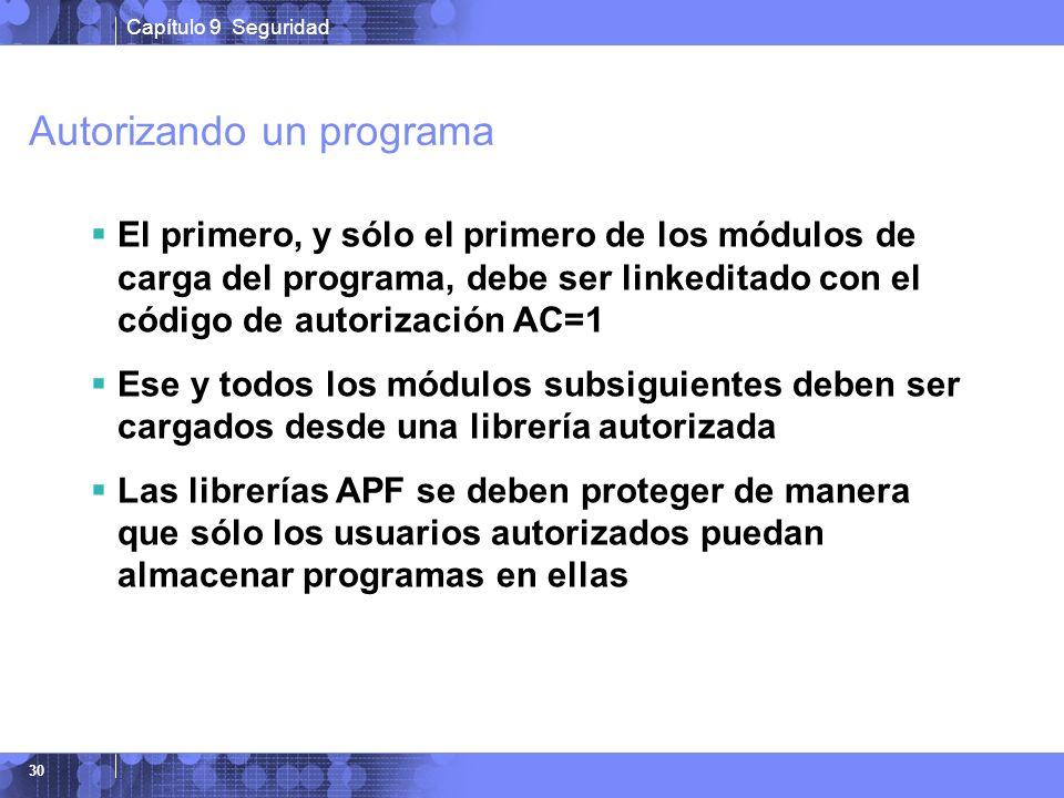 Capítulo 9 Seguridad 30 Autorizando un programa El primero, y sólo el primero de los módulos de carga del programa, debe ser linkeditado con el código