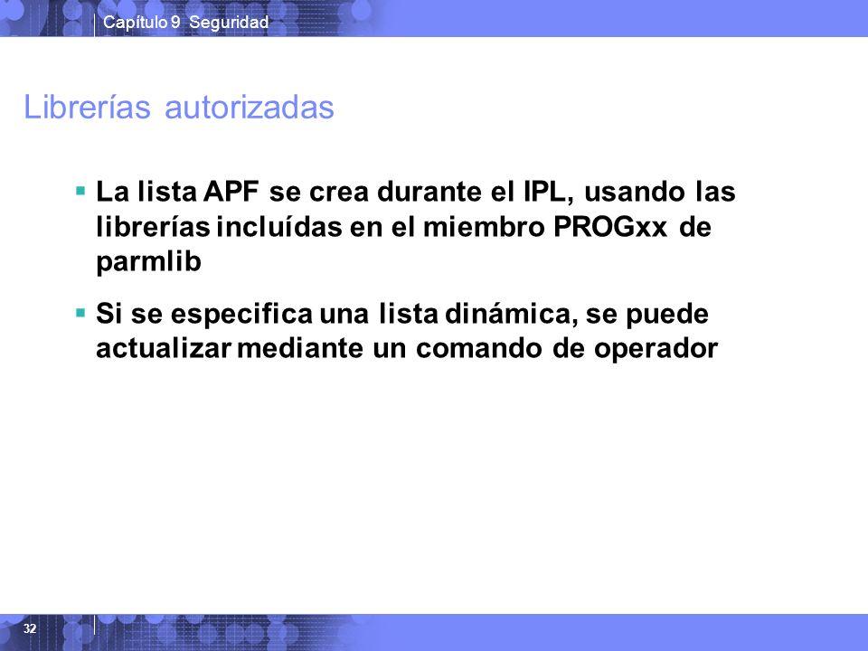 Capítulo 9 Seguridad 32 Librerías autorizadas La lista APF se crea durante el IPL, usando las librerías incluídas en el miembro PROGxx de parmlib Si s