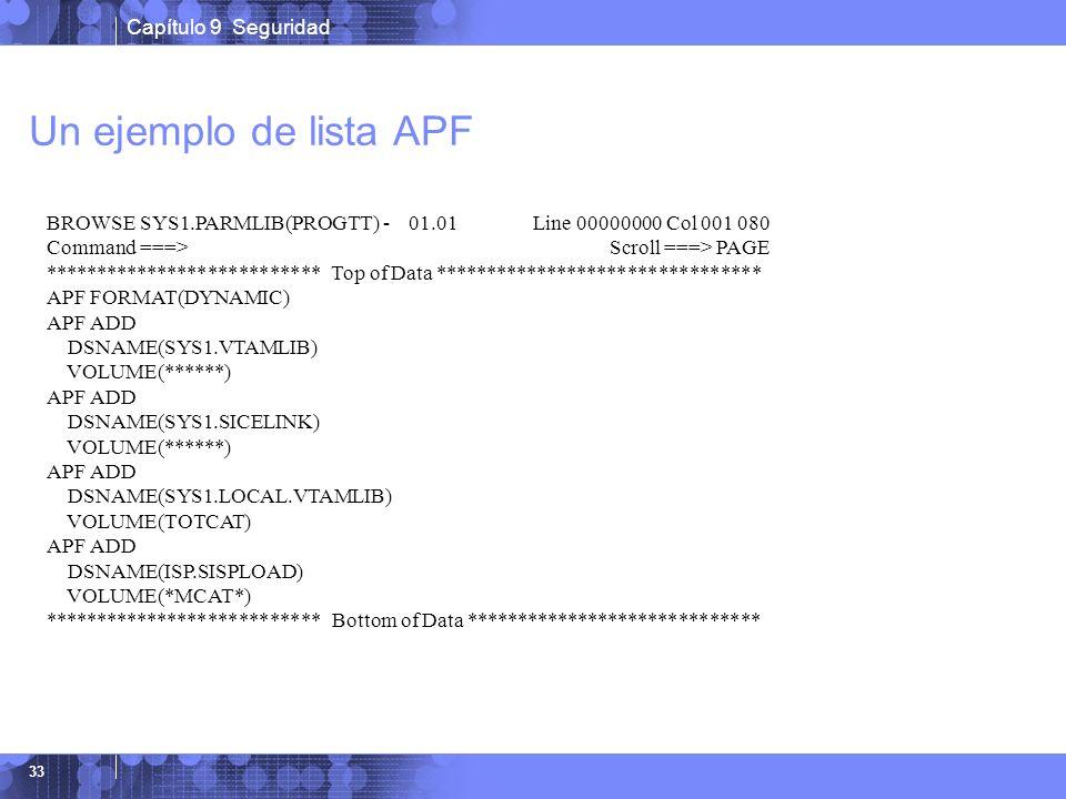 Capítulo 9 Seguridad 33 Un ejemplo de lista APF BROWSE SYS1.PARMLIB(PROGTT) - 01.01 Line 00000000 Col 001 080 Command ===> Scroll ===> PAGE **********