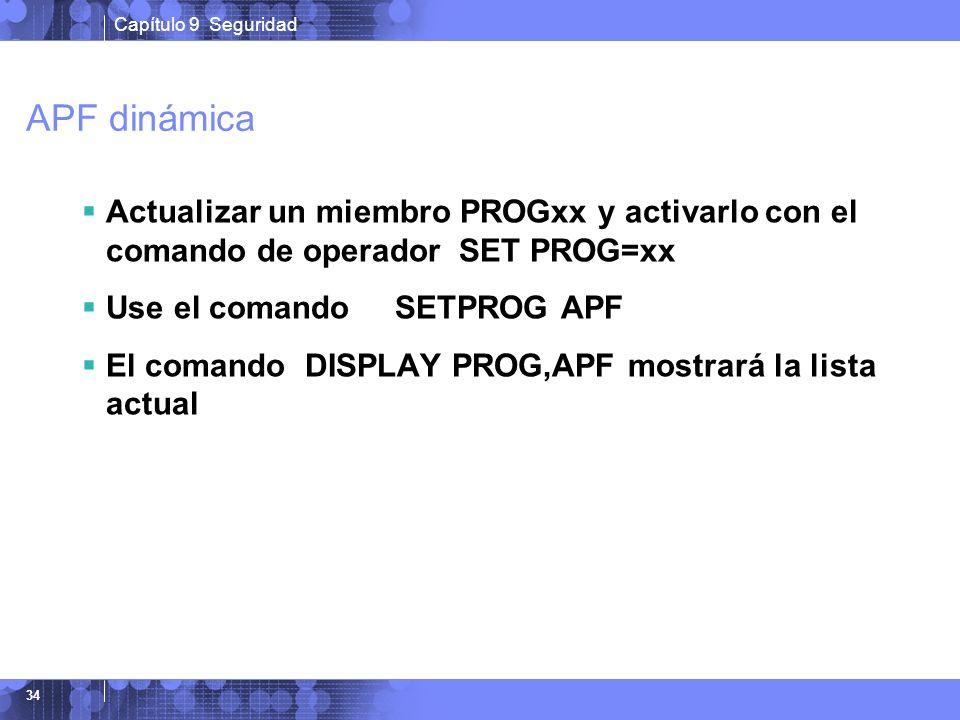 Capítulo 9 Seguridad 34 APF dinámica Actualizar un miembro PROGxx y activarlo con el comando de operador SET PROG=xx Use el comando SETPROG APF El com