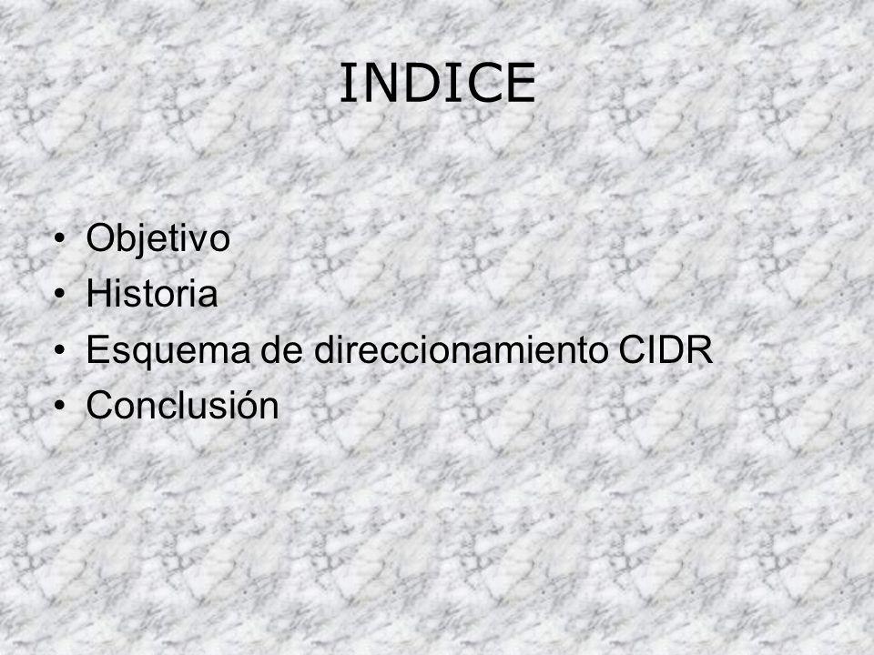 INDICE Objetivo Historia Esquema de direccionamiento CIDR Conclusión