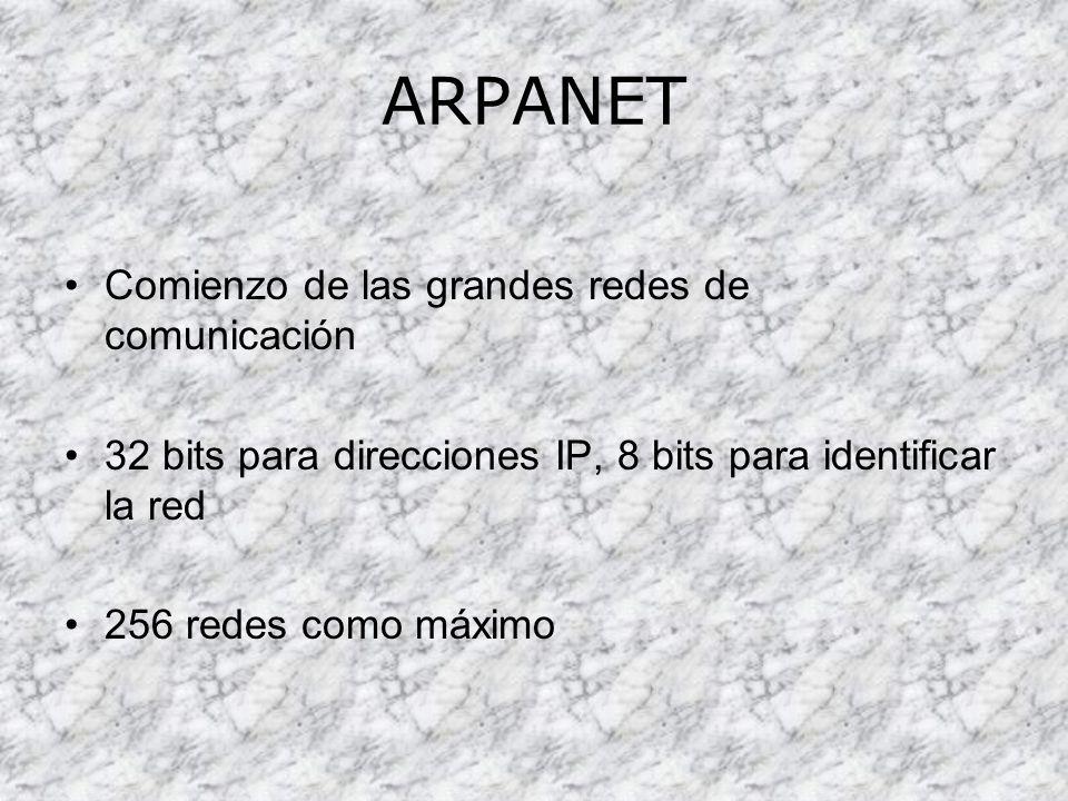ARPANET Comienzo de las grandes redes de comunicación 32 bits para direcciones IP, 8 bits para identificar la red 256 redes como máximo
