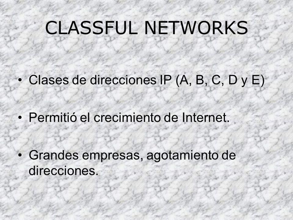 CLASSFUL NETWORKS Clases de direcciones IP (A, B, C, D y E) Permitió el crecimiento de Internet. Grandes empresas, agotamiento de direcciones.