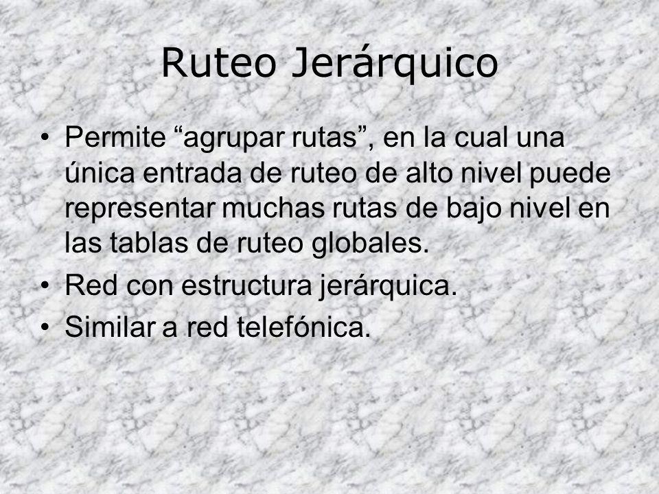 Ruteo Jerárquico Permite agrupar rutas, en la cual una única entrada de ruteo de alto nivel puede representar muchas rutas de bajo nivel en las tablas