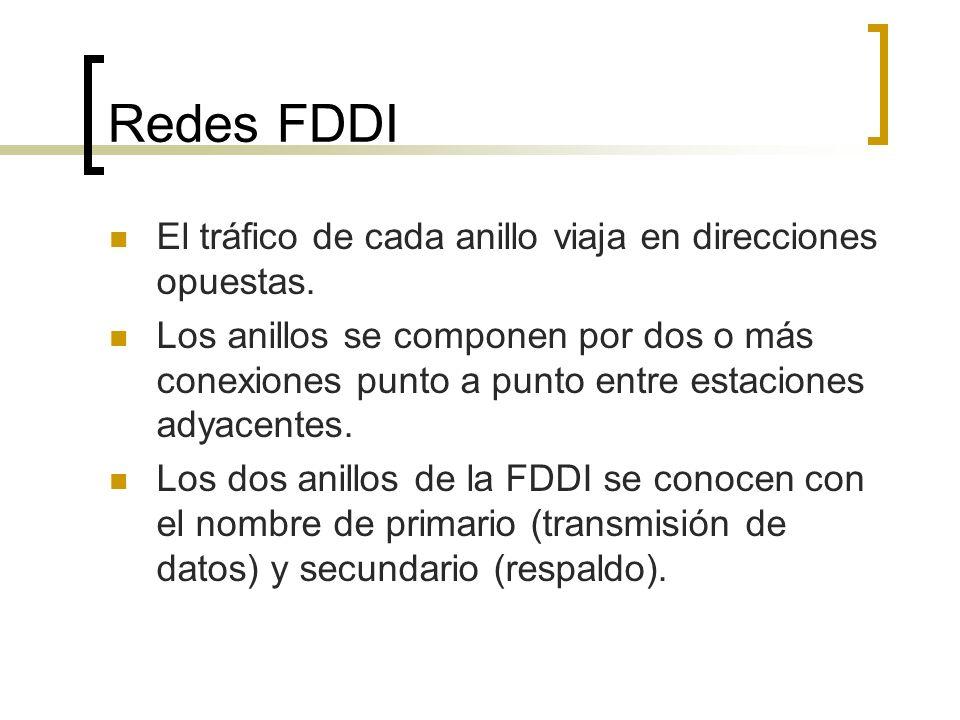 Redes FDDI El tráfico de cada anillo viaja en direcciones opuestas. Los anillos se componen por dos o más conexiones punto a punto entre estaciones ad