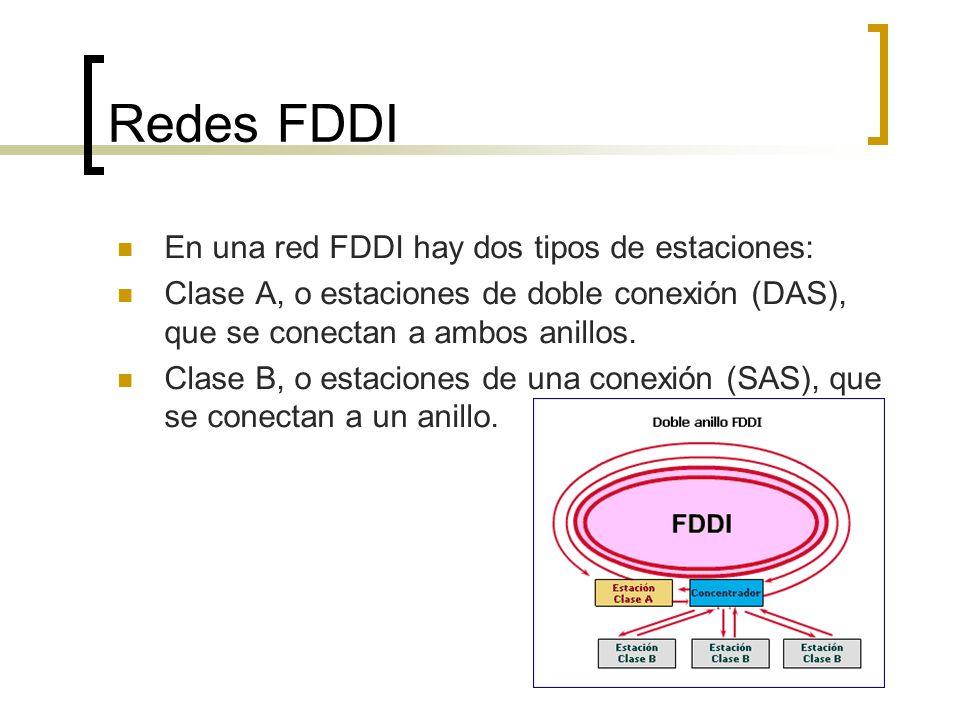 Redes FDDI En una red FDDI hay dos tipos de estaciones: Clase A, o estaciones de doble conexión (DAS), que se conectan a ambos anillos. Clase B, o est