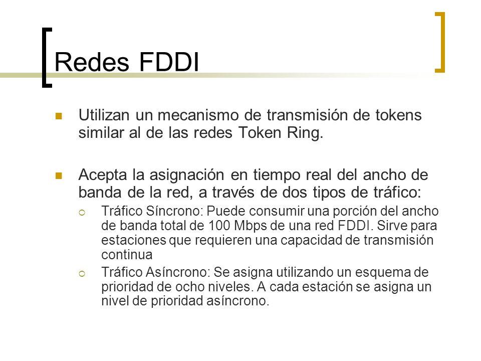 Redes FDDI Utilizan un mecanismo de transmisión de tokens similar al de las redes Token Ring. Acepta la asignación en tiempo real del ancho de banda d