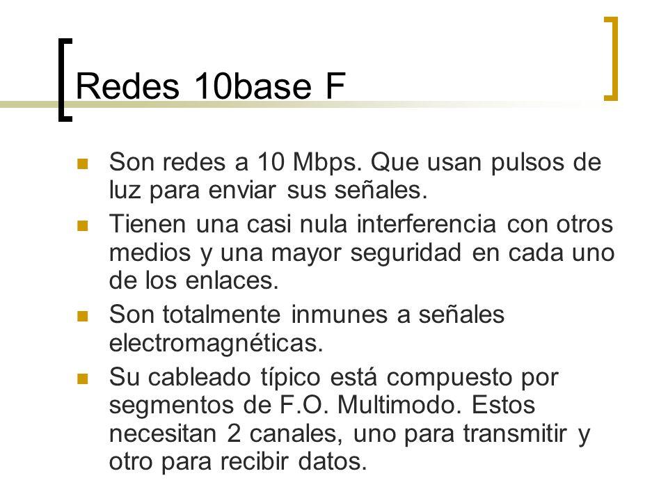 Redes 10base F Son redes a 10 Mbps. Que usan pulsos de luz para enviar sus señales. Tienen una casi nula interferencia con otros medios y una mayor se