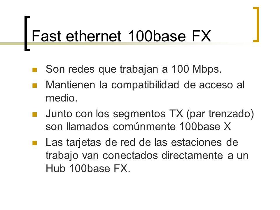Fast ethernet 100base FX Son redes que trabajan a 100 Mbps. Mantienen la compatibilidad de acceso al medio. Junto con los segmentos TX (par trenzado)
