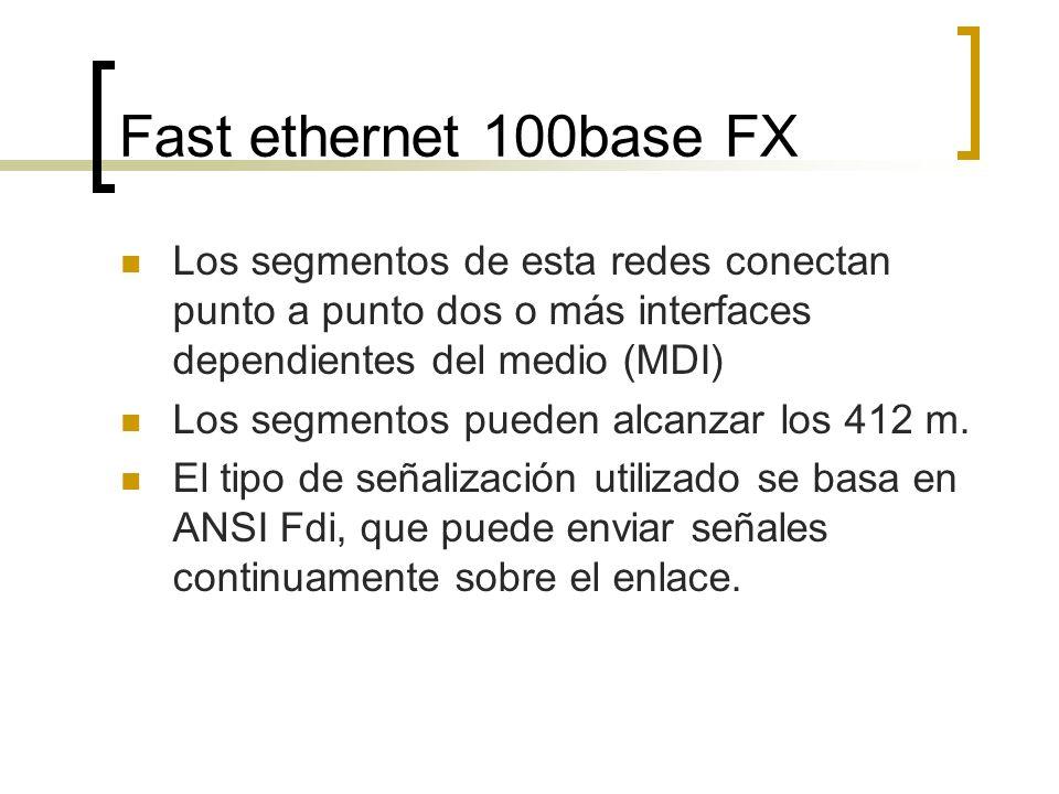 Los segmentos de esta redes conectan punto a punto dos o más interfaces dependientes del medio (MDI) Los segmentos pueden alcanzar los 412 m.