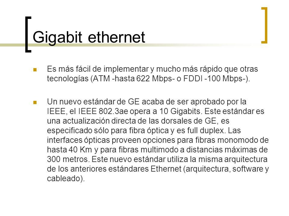 Gigabit ethernet Es más fácil de implementar y mucho más rápido que otras tecnologías (ATM -hasta 622 Mbps- o FDDI -100 Mbps-). Un nuevo estándar de G