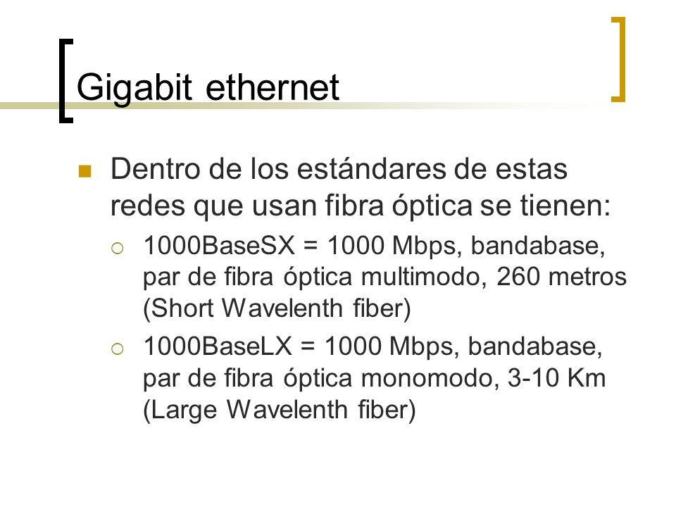 Gigabit ethernet Dentro de los estándares de estas redes que usan fibra óptica se tienen: 1000BaseSX = 1000 Mbps, bandabase, par de fibra óptica multi