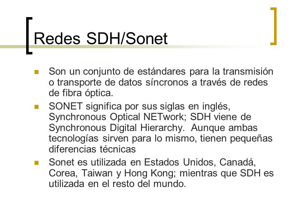 Redes SDH/Sonet Son un conjunto de estándares para la transmisión o transporte de datos síncronos a través de redes de fibra óptica. SONET significa p