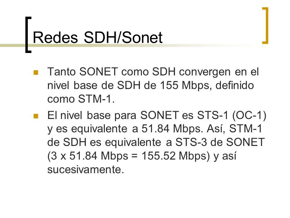 Redes SDH/Sonet Tanto SONET como SDH convergen en el nivel base de SDH de 155 Mbps, definido como STM-1. El nivel base para SONET es STS-1 (OC-1) y es