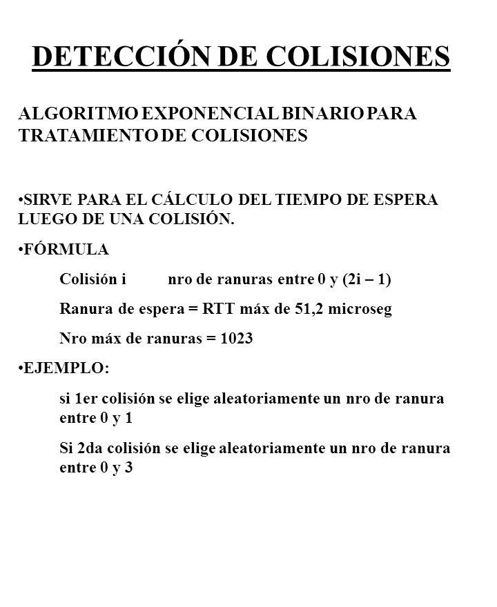 DETECCIÓN DE COLISIONES ALGORITMO EXPONENCIAL BINARIO PARA TRATAMIENTO DE COLISIONES SIRVE PARA EL CÁLCULO DEL TIEMPO DE ESPERA LUEGO DE UNA COLISIÓN.