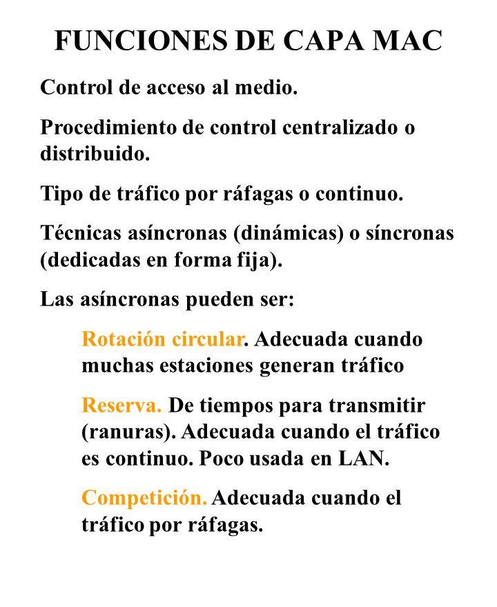FUNCIONES DE CAPA MAC Control de acceso al medio. Procedimiento de control centralizado o distribuido. Tipo de tráfico por ráfagas o continuo. Técnica