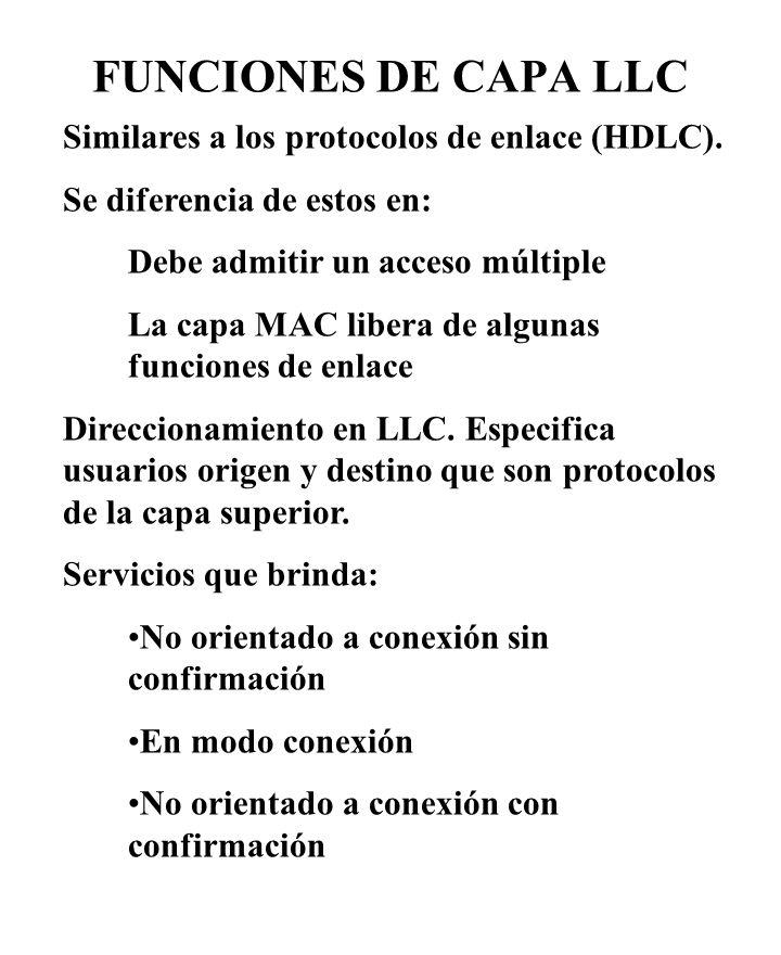 FUNCIONES DE CAPA LLC Similares a los protocolos de enlace (HDLC). Se diferencia de estos en: Debe admitir un acceso múltiple La capa MAC libera de al