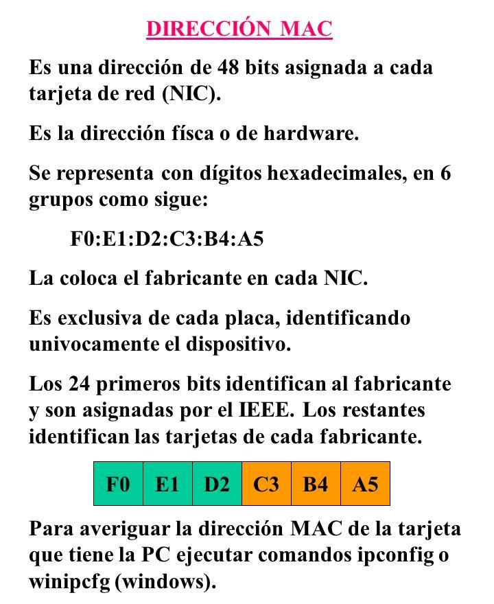 DIRECCIÓN MAC Es una dirección de 48 bits asignada a cada tarjeta de red (NIC). Es la dirección físca o de hardware. Se representa con dígitos hexadec