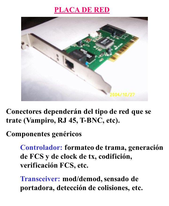 PLACA DE RED Conectores dependerán del tipo de red que se trate (Vampiro, RJ 45, T-BNC, etc). Componentes genéricos Controlador: formateo de trama, ge