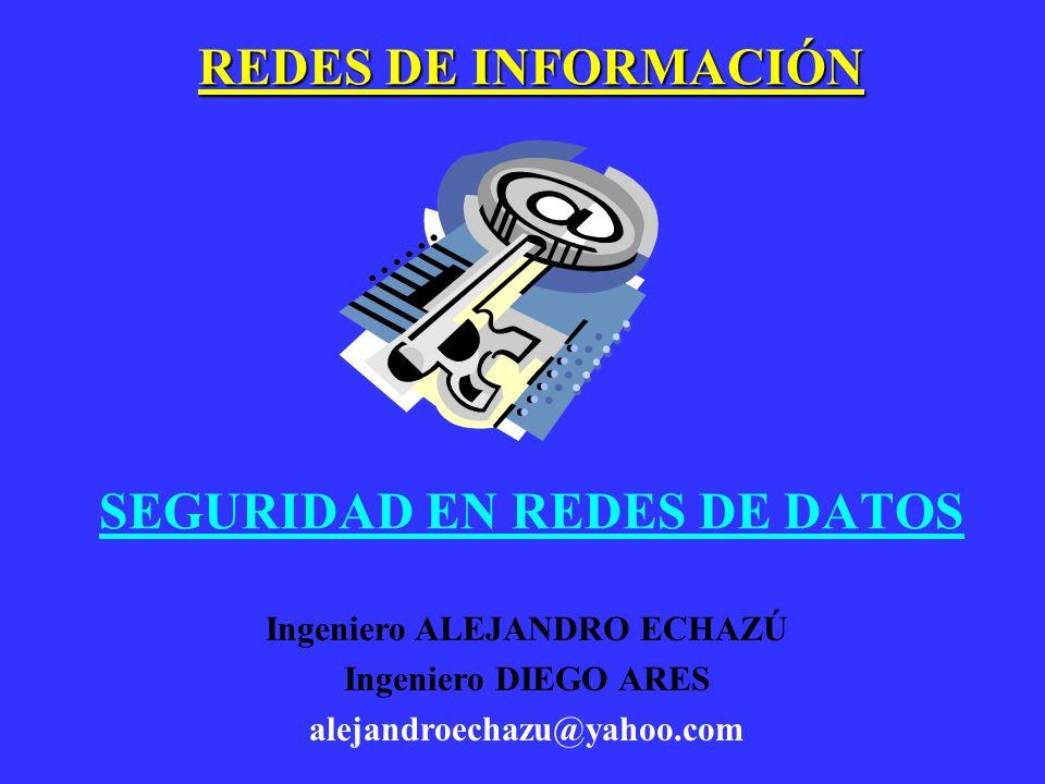 SEGURIDAD EN REDES DE DATOS REDES DE INFORMACIÓN Ingeniero ALEJANDRO ECHAZÚ Ingeniero DIEGO ARES alejandroechazu@yahoo.com