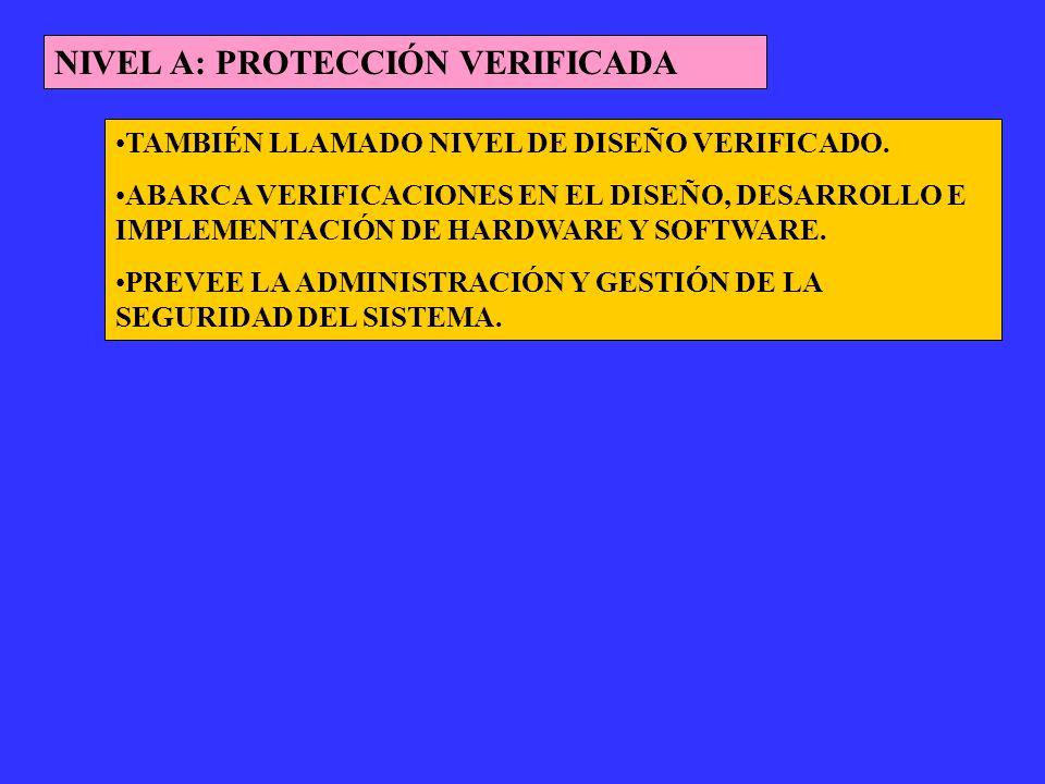 NIVEL A: PROTECCIÓN VERIFICADA TAMBIÉN LLAMADO NIVEL DE DISEÑO VERIFICADO. ABARCA VERIFICACIONES EN EL DISEÑO, DESARROLLO E IMPLEMENTACIÓN DE HARDWARE