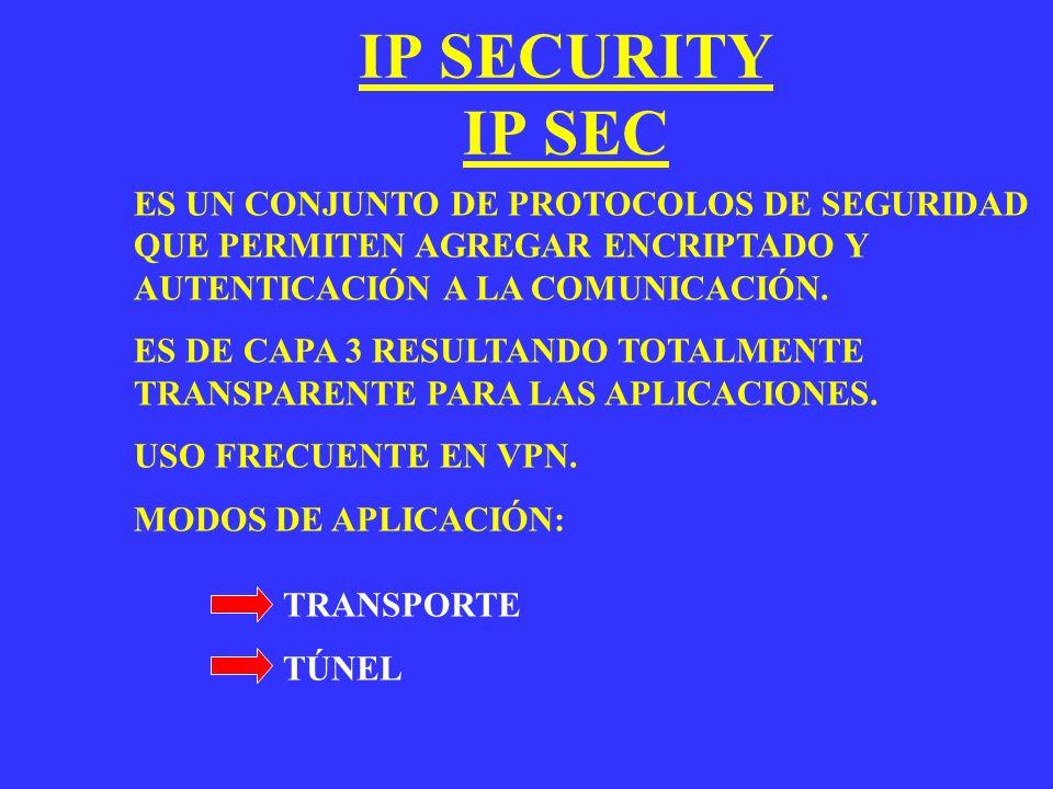 IP SECURITY IP SEC ES UN CONJUNTO DE PROTOCOLOS DE SEGURIDAD QUE PERMITEN AGREGAR ENCRIPTADO Y AUTENTICACIÓN A LA COMUNICACIÓN. ES DE CAPA 3 RESULTAND