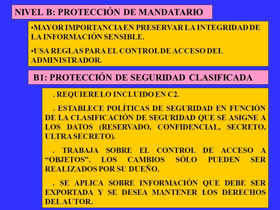 NIVEL B: PROTECCIÓN DE MANDATARIO B1: PROTECCIÓN DE SEGURIDAD CLASIFICADA MAYOR IMPORTANCIA EN PRESERVAR LA INTEGRIDAD DE LA INFORMACIÓN SENSIBLE. USA