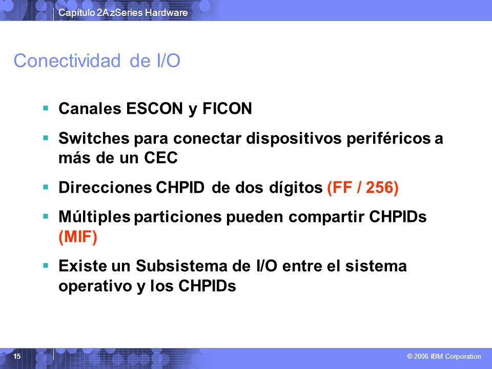 Capítulo 2A zSeries Hardware © 2006 IBM Corporation 15 Conectividad de I/O Canales ESCON y FICON Switches para conectar dispositivos periféricos a más