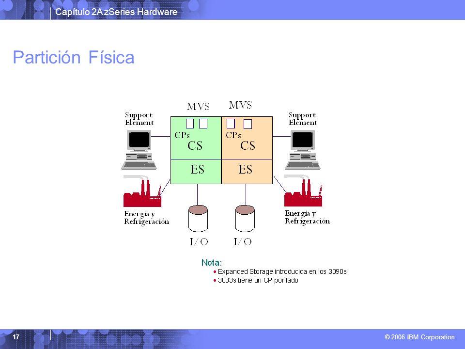 Capítulo 2A zSeries Hardware © 2006 IBM Corporation 17 Partición Física