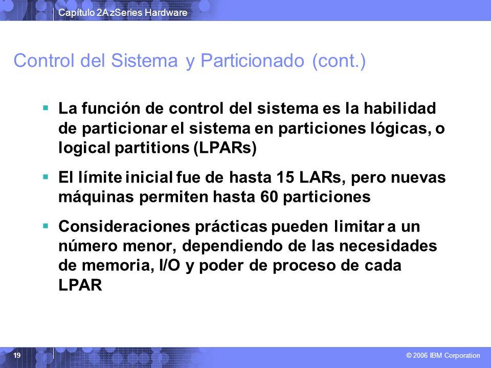 Capítulo 2A zSeries Hardware © 2006 IBM Corporation 19 Control del Sistema y Particionado (cont.) La función de control del sistema es la habilidad de