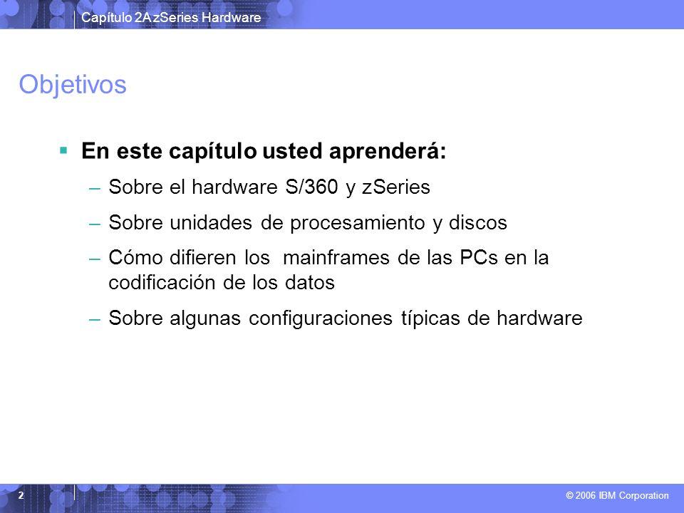 Capítulo 2A zSeries Hardware © 2006 IBM Corporation 2 Objetivos En este capítulo usted aprenderá: –Sobre el hardware S/360 y zSeries –Sobre unidades d