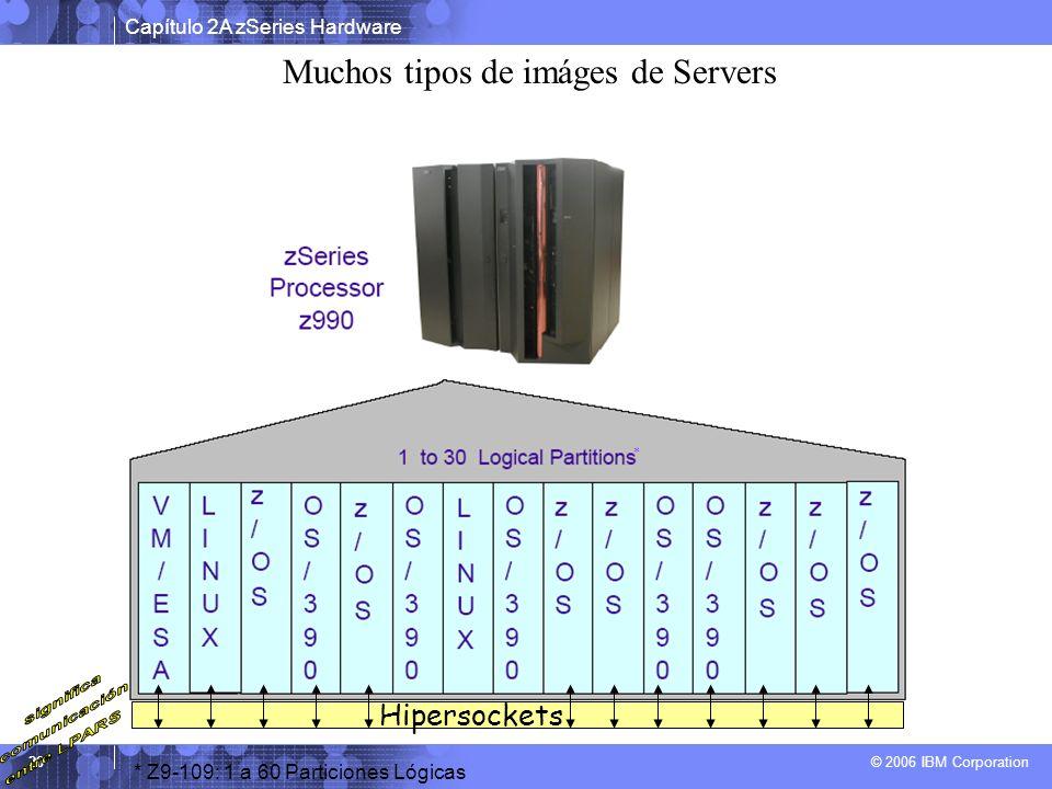 Capítulo 2A zSeries Hardware © 2006 IBM Corporation 20 * Z9-109: 1 a 60 Particiones Lógicas * Muchos tipos de imáges de Servers Hipersockets