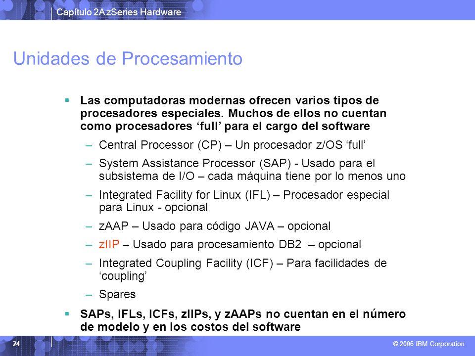 Capítulo 2A zSeries Hardware © 2006 IBM Corporation 24 Unidades de Procesamiento Las computadoras modernas ofrecen varios tipos de procesadores especi