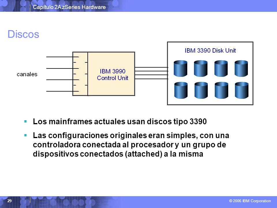 Capítulo 2A zSeries Hardware © 2006 IBM Corporation 29 Discos Los mainframes actuales usan discos tipo 3390 Las configuraciones originales eran simple