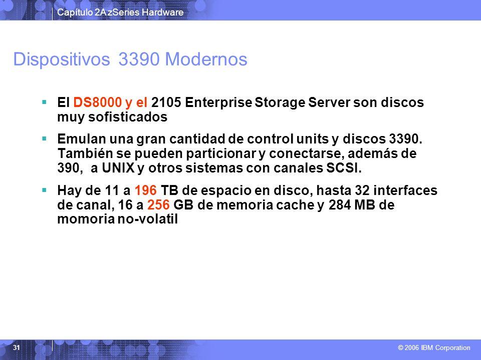 Capítulo 2A zSeries Hardware © 2006 IBM Corporation 31 Dispositivos 3390 Modernos El DS8000 y el 2105 Enterprise Storage Server son discos muy sofisti