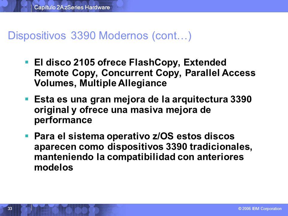 Capítulo 2A zSeries Hardware © 2006 IBM Corporation 33 Dispositivos 3390 Modernos (cont…) El disco 2105 ofrece FlashCopy, Extended Remote Copy, Concur