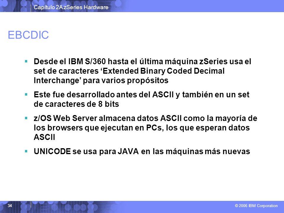 Capítulo 2A zSeries Hardware © 2006 IBM Corporation 34 EBCDIC Desde el IBM S/360 hasta el última máquina zSeries usa el set de caracteres Extended Bin