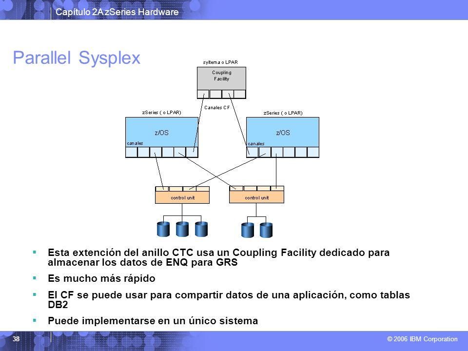 Capítulo 2A zSeries Hardware © 2006 IBM Corporation 38 Parallel Sysplex Esta extención del anillo CTC usa un Coupling Facility dedicado para almacenar