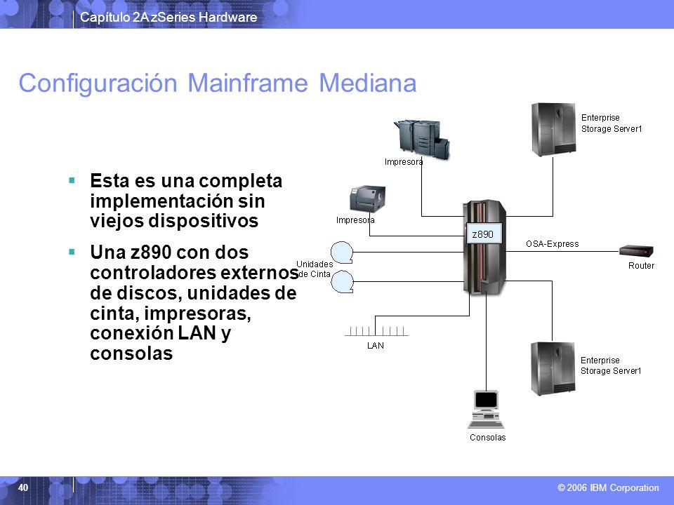 Capítulo 2A zSeries Hardware © 2006 IBM Corporation 40 Configuración Mainframe Mediana Esta es una completa implementación sin viejos dispositivos Una