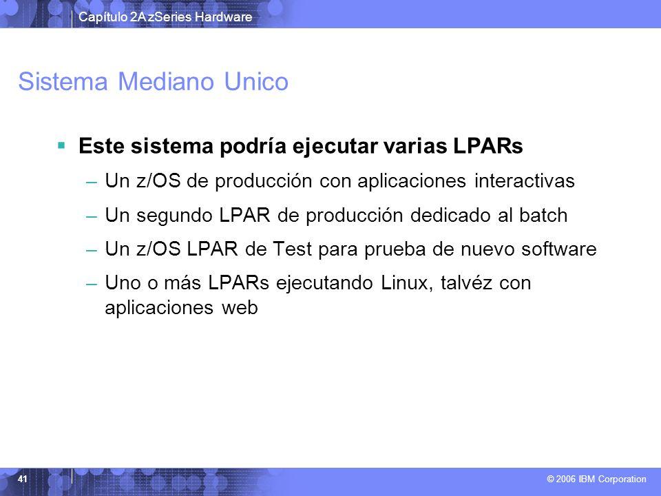 Capítulo 2A zSeries Hardware © 2006 IBM Corporation 41 Sistema Mediano Unico Este sistema podría ejecutar varias LPARs –Un z/OS de producción con apli