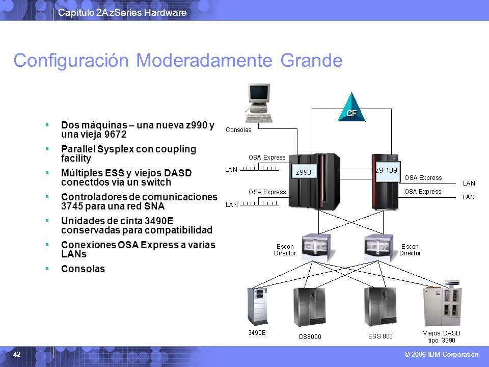 Capítulo 2A zSeries Hardware © 2006 IBM Corporation 42 Configuración Moderadamente Grande Dos máquinas – una nueva z990 y una vieja 9672 Parallel Sysp