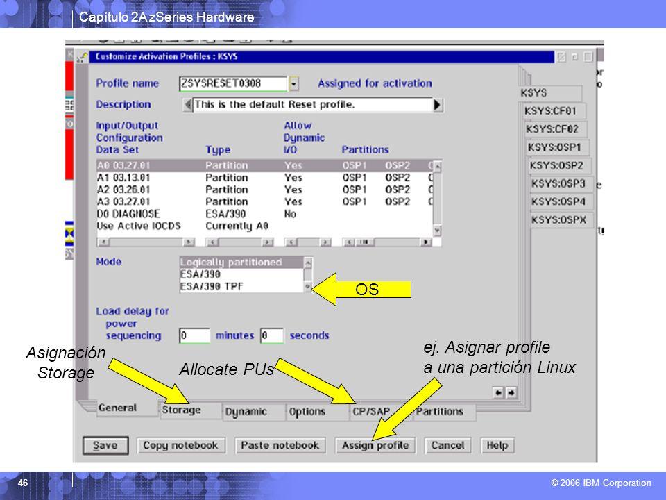 Capítulo 2A zSeries Hardware © 2006 IBM Corporation 46 OS ej. Asignar profile a una partición Linux Allocate PUs Asignación Storage
