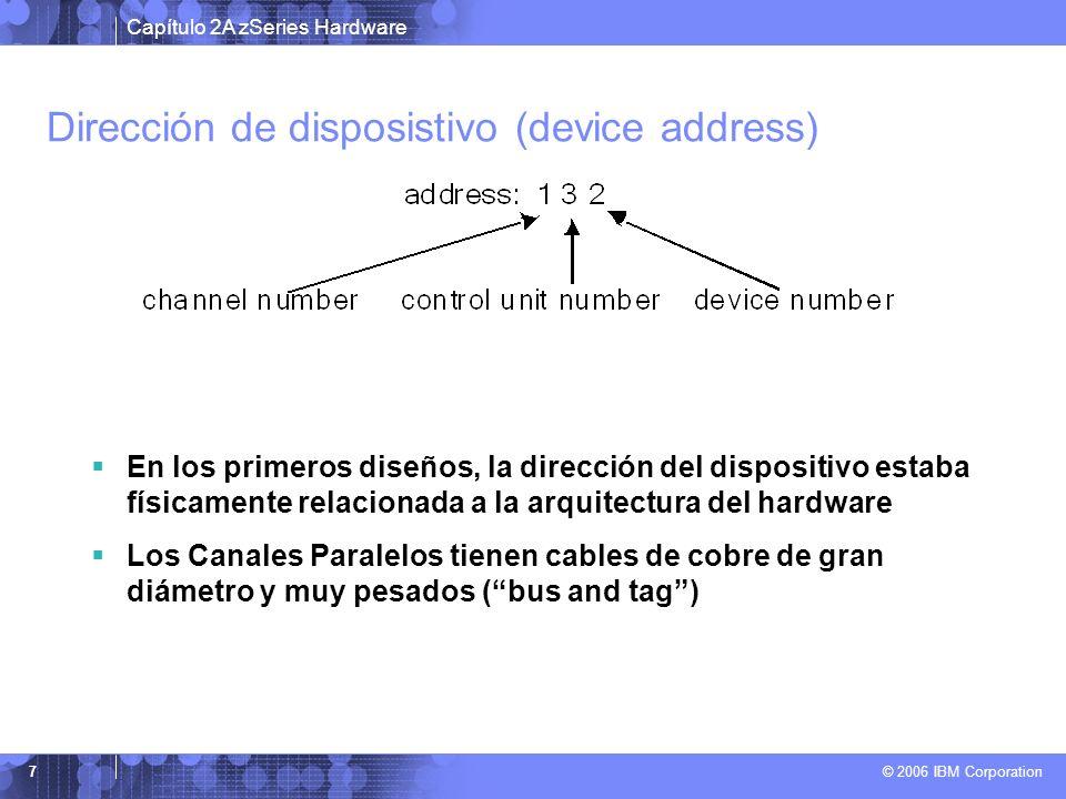 Capítulo 2A zSeries Hardware © 2006 IBM Corporation 7 Dirección de disposistivo (device address) En los primeros diseños, la dirección del dispositivo