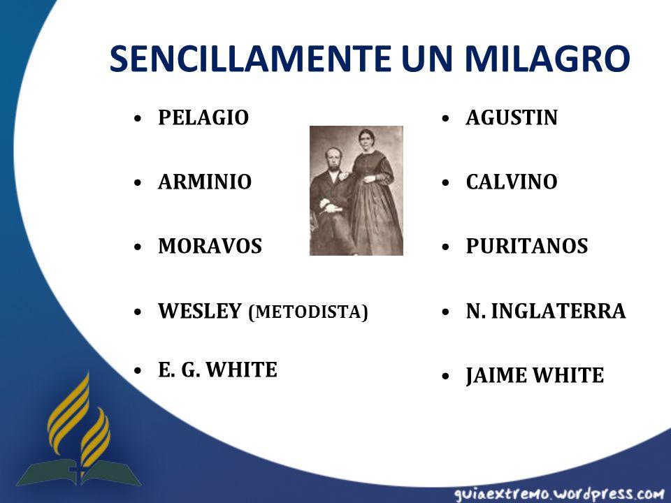 SENCILLAMENTE UN MILAGRO PELAGIO ARMINIO MORAVOS WESLEY (METODISTA) E. G. WHITE AGUSTIN CALVINO PURITANOS N. INGLATERRA JAIME WHITE