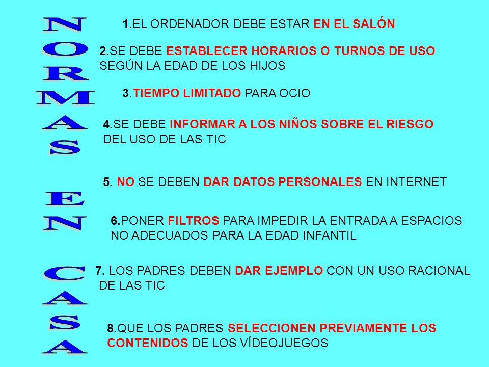 1.EL ORDENADOR DEBE ESTAR EN EL SALÓN 2.SE DEBE ESTABLECER HORARIOS O TURNOS DE USO SEGÚN LA EDAD DE LOS HIJOS 3.TIEMPO LIMITADO PARA OCIO 4.SE DEBE I