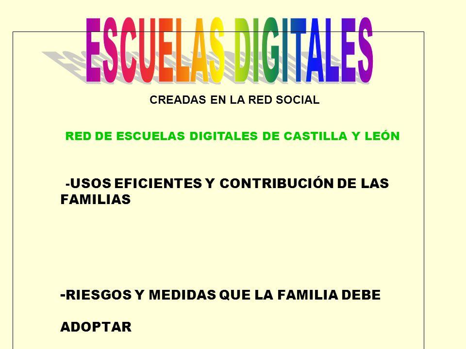 CREADAS EN LA RED SOCIAL RED DE ESCUELAS DIGITALES DE CASTILLA Y LEÓN -USOS EFICIENTES Y CONTRIBUCIÓN DE LAS FAMILIAS - RIESGOS Y MEDIDAS QUE LA FAMIL