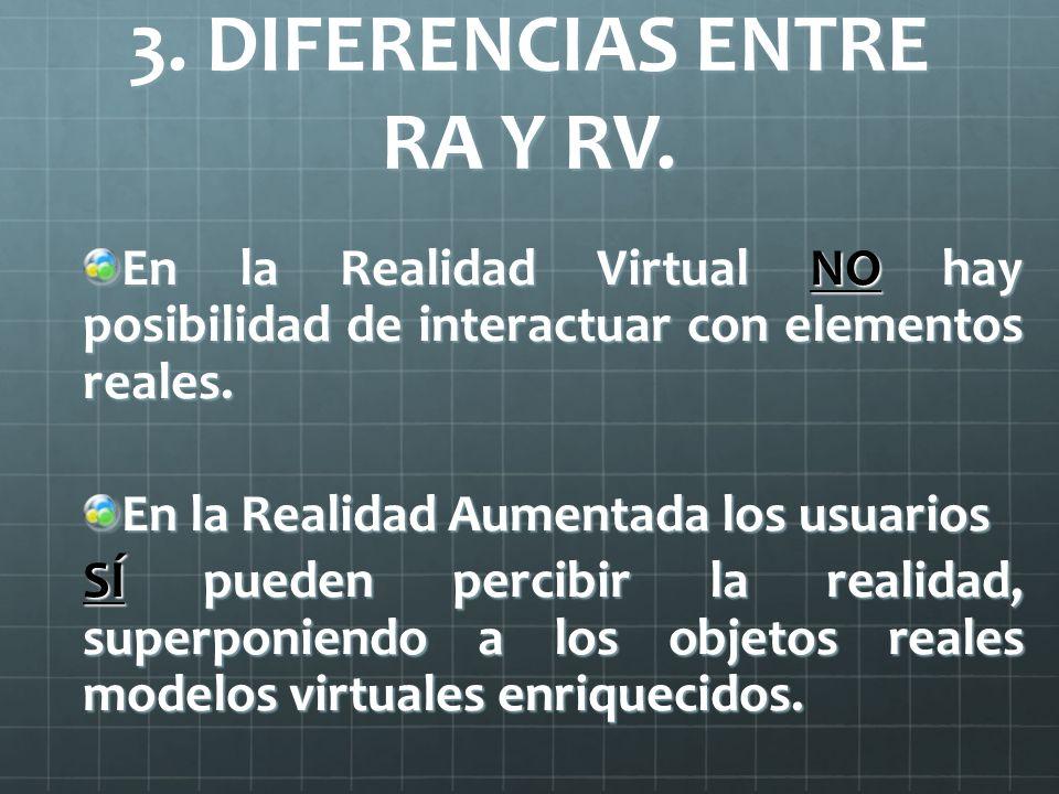 3. DIFERENCIAS ENTRE RA Y RV. En la Realidad Virtual NO hay posibilidad de interactuar con elementos reales. En la Realidad Aumentada los usuarios SÍ