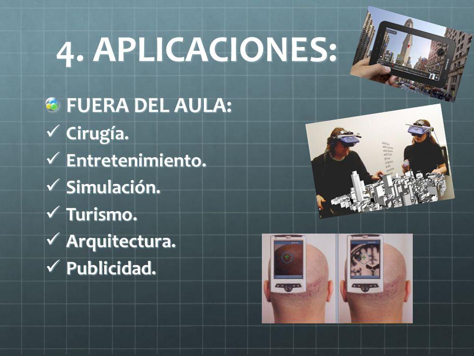 4. APLICACIONES: FUERA DEL AULA: Cirugía. Cirugía. Entretenimiento. Entretenimiento. Simulación. Simulación. Turismo. Turismo. Arquitectura. Arquitect